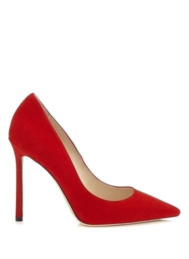 Jimmy Choo %100 Deri Stiletto Kırmızı